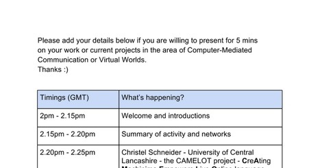 CMC and VW joint SIG event Thursday 5th March | computer mediated communication | Scoop.it