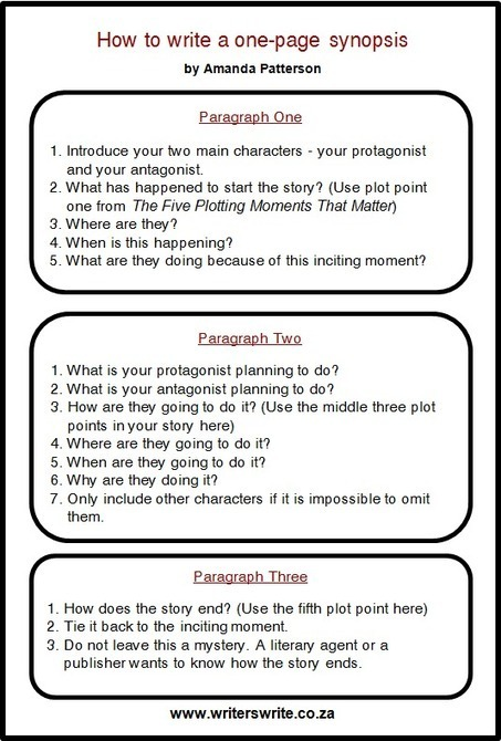 How to write a one-page synopsis | Feed the Writer | Scoop.it