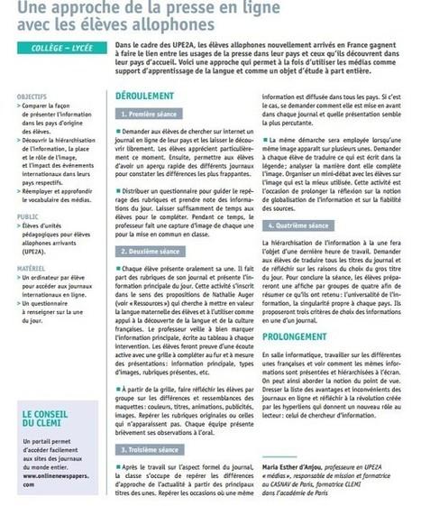 Une approche de la presse en ligne avec les élèves allophonesLettres Guyane   Accueil des élèves allophones en établissements scolaires   Scoop.it