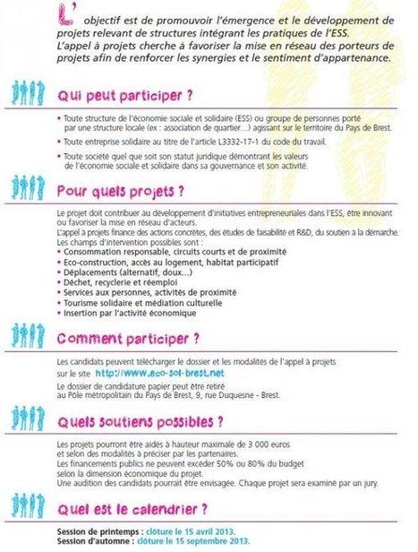 Appel à projets pour une économie sociale et solidaire en action au Pays de Brest - Brest économie sociale et solidaire | Coopération, libre et innovation sociale ouverte | Scoop.it
