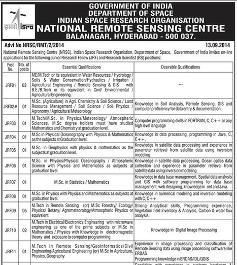 NRSC Recruitment 2014 JRF,Research Scientists nrsc.gov.in   Social Bookmarking Sites   Scoop.it
