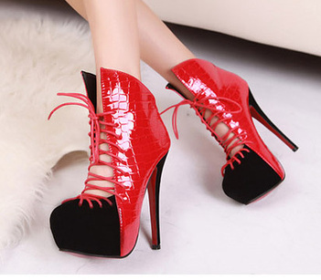 Wholesale Womens ankle boots fashion sexy thick heel 14cm shoes SY-C2010 red - Lovely Fashion | fashion chic styles(peep toe,pumps) | Scoop.it