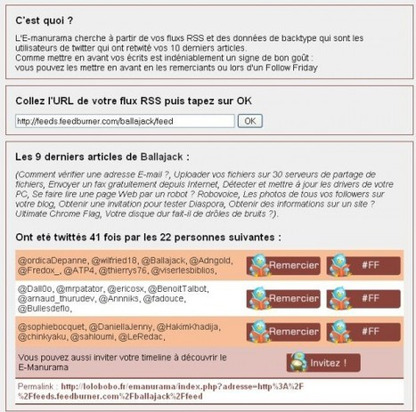 Qui tweete les articles de votre blog - E-manurama | Ballajack | formation 2.0 | Scoop.it