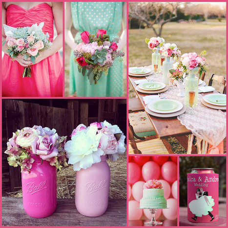 Shades of Pink with a Touch of Mint, Wedding Color Schemes and Ideas for your Stubby Holder Wedding Favours. | Weddings | Scoop.it