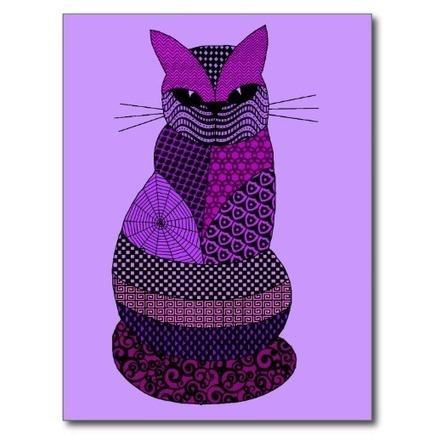 Zentangle Cat in Purple and Blue | Zen | Scoop.it