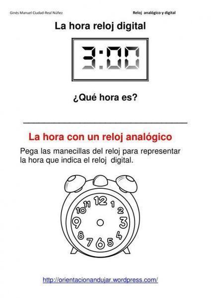 Reloj analogo para colorear - Imagui