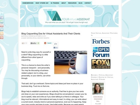 Blog Copywriting Dos For Virtual Assistants and Their Clients - The Latest News For Writers   Resources for Virtual Professionals   Scoop.it
