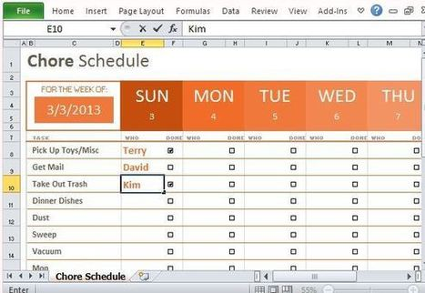 Weekly Chore Schedule Organizer for Excel | Free Office Templates | Scoop.it