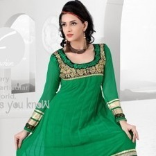 Green Faux Georgette Salwar Kameez | Strollay.com | Scoop.it