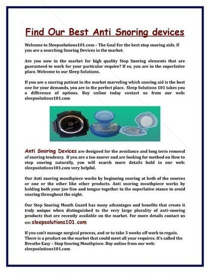 Find Our Best Anti Snoring devices | Sleepsolutions101.com | Scoop.it