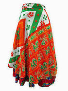 Easy Breezy Silk Sari Wrap Skirt Orange Green | Bohemian Harem Pant | Scoop.it