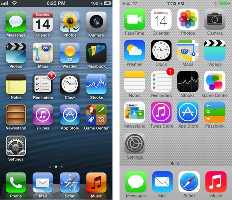 Death to textures: iOS 6 and iOS 7 compared in pictures | Technology | Scoop.it