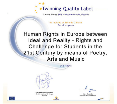 Human Rights in Europe: 3 eTwinning Quality Labels   centros   Scoop.it