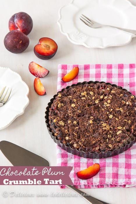 Chocolate Plum Crumble Tart - Delicieux   Baking Recipes   Scoop.it