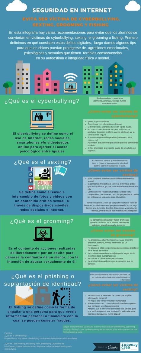 Seguridad en Internet (ciberbullying - sexting - grooming - fishing) #infografia #educacion | Educacion, ecologia y TIC | Scoop.it