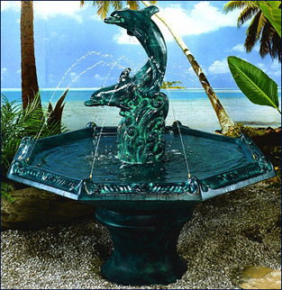 Dolphin Fountain with Octagon Bowl #2007-F5 | outdoor fountains | Scoop.it