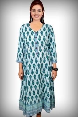 Blue Printed Cotton Anarkali Kurti-M-186B - ANARKALI | KURTIS | Scoop.it