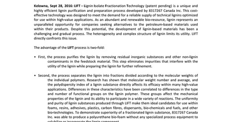 LIFT PRESS RELEASE SEPT.28.2016.pdf | The Valorisation of LIGNIN | Scoop.it