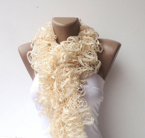 scarf women hand knitted ruffled scarf - vanilla cream long scarves ruffle knitting | Knit Ruffled Scarf,multicolor scarf,2013 NEW TREND SCARF,accessories,gifts for her,fashion,long scarf | Scoop.it