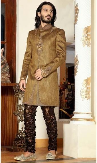 Unique Gold Color Brocade Readymade Indo Western Suit | fashionheena.com | Scoop.it