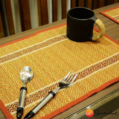 Placemats Table Mat Weaving Pattern – Red and Orange - Set of 6 | wooden Kitchen Products and Accessories | Scoop.it