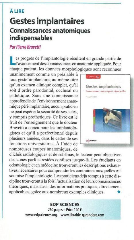 Gestes implantaires : connaissances anatomiques indispensables | LIBRAIRIE GARANCIERE | Scoop.it