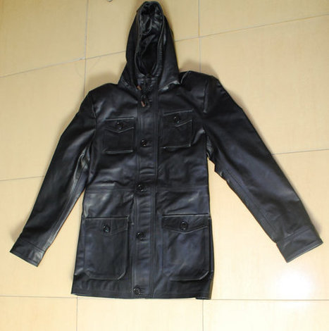 Black front button closure hooded leather jacket | Shopping | Scoop.it
