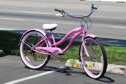 """Micargi Rover 7-Speed 26"""" Women's Beach Cruiser Bicycle, Steel Frame (Pink) 