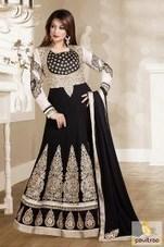 Black with Off White Floor Length Anarkali Salwar Suit   Pavitraa   Scoop.it