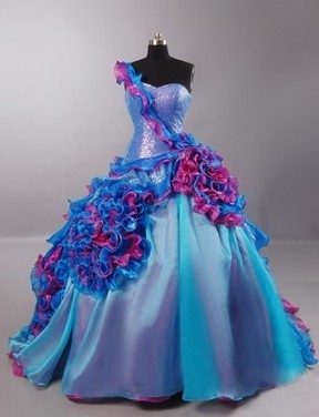 Blue and Pink Ruffled Quinceanera Dress | Modern Quinceanera Dress | Scoop.it