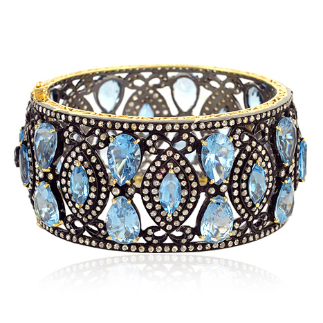Diamond Blue Topaz Victorian Bangle | Diamond Jewelry | GemcoDesigns | Pave Diamond Bangle | Diamond Jewelry | GemcoDesigns | Scoop.it