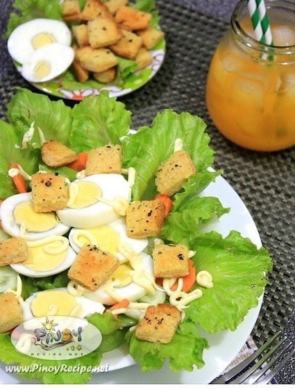 Egg Lettuce Salad with Garlic Herb Croutons Recipe | Filipino Recipes Collection | Scoop.it
