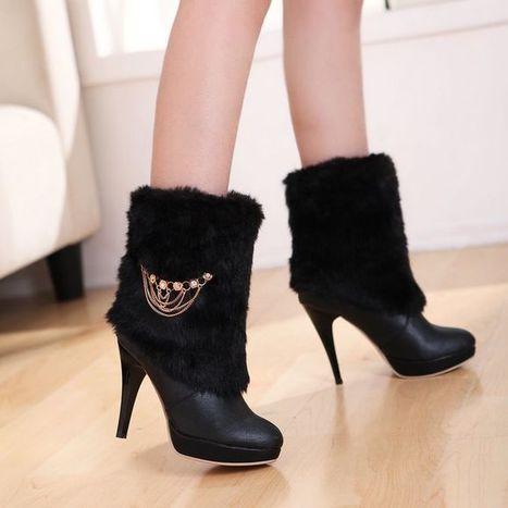 Black Shoes Wholesale Korean Fashion Metal Chain Fur High Heel Ankle Boots [DDL-224]- US$16.92 - www.wholesaleshoes8.com | Wholesale Women Shoes | Scoop.it