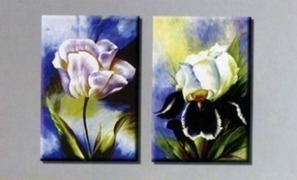 Two Flowers Hand-painted 2-piece Abstract Modern Stretched Oil Painting on Canvas,Oil Painting Set (2-5 pieces) | Oil paintings Gallery | Scoop.it