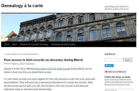 Genealogy à la carte : gratuit en mars pour les données Irlandaises | CGMA Généalogie | Scoop.it