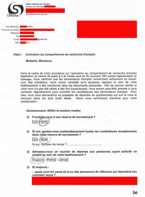 L'ONEM contrôle les employeurs qui répondent aux candidatures de chômeurs ! - ActuChomage.be /info   ActuChomage.info   Scoop.it