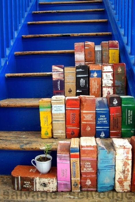 "Paint old bricks to look like books for your garden | Oriental - ""The Sailing Capital of North Carolina"" 