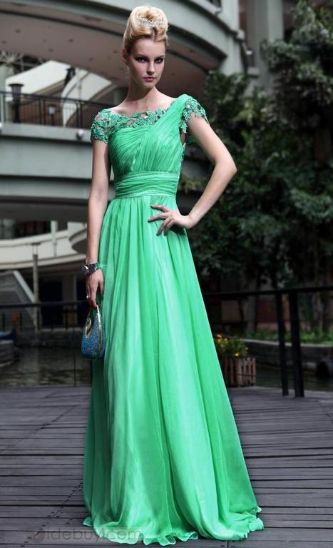 Charming A-Line Short Sleeves Lace Floor-Length Evening/Party Dress | fashion girl | Scoop.it