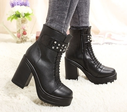 Wholesale Wide calf womens boots with rivet & side zipper fashion shoes CZ-2699 black - Lovely Fashion | Chic summer streetstyle(sandals) | Scoop.it