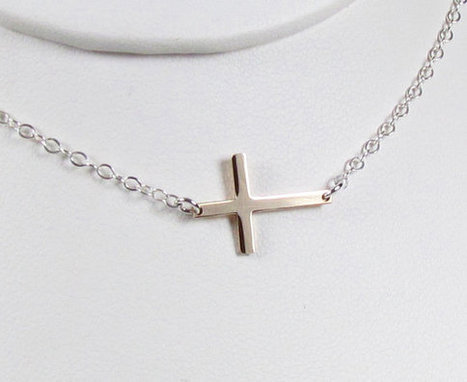 NEW--Two Tone TINY-- Skinny Sideways Cross,  Your Choice of metals-- Celebrity Inspired | Crosses | Scoop.it
