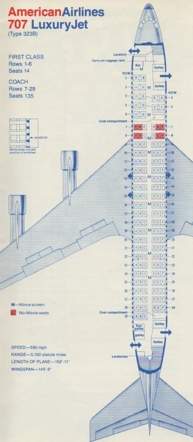 #American #Airlines #Boeing 707-323B Seat Map | Le It e Amo ✪ | Scoop.it