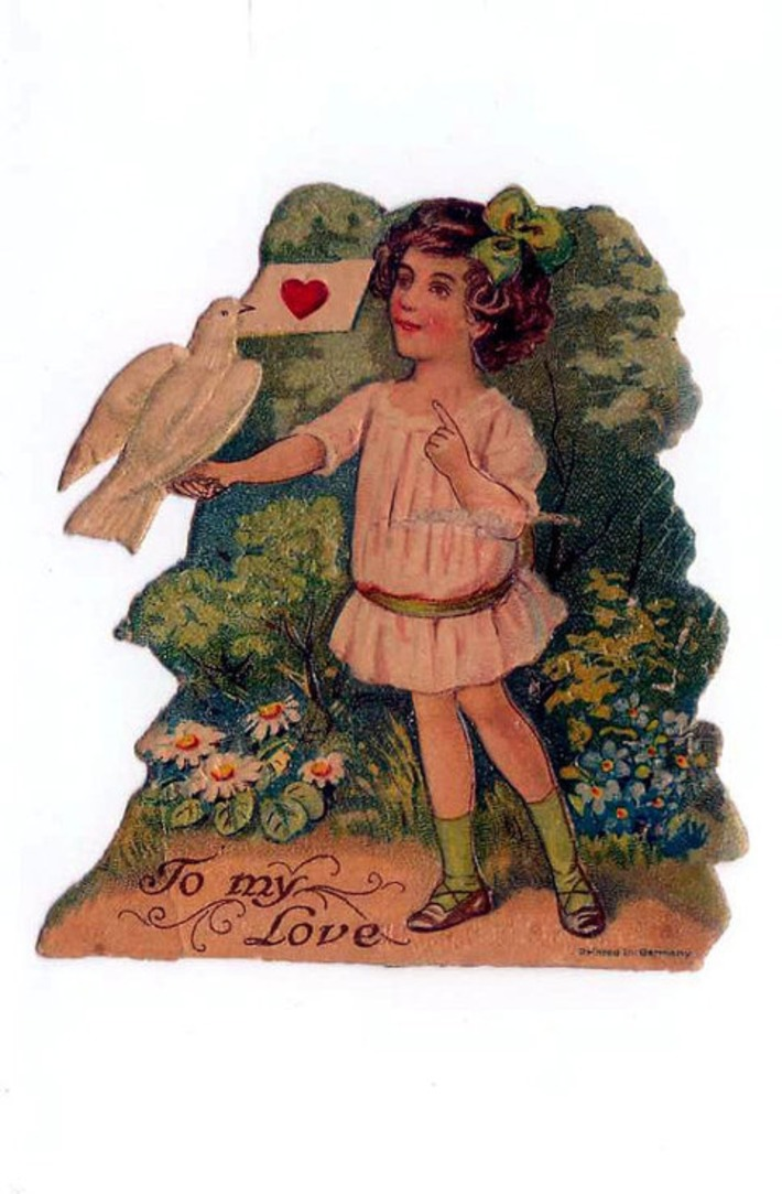 Antique Victorian Girl with White Dove & Love Letter Die-Cut Valentine's Day Card Made In Germany 1800s | Antiques & Vintage Collectibles | Scoop.it
