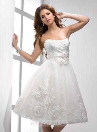 Vintage White A-line Sweetheart Knee-length Lace Wedding Dresses 2013 - $128.99 - Trendget.com | Knee Length Wedding Dresses | Scoop.it