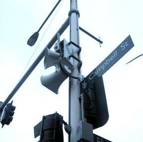 Loudspeakers in city | DESARTSONNANTS - CRÉATION SONORE ET ENVIRONNEMENT - ENVIRONMENTAL SOUND ART - PAYSAGES ET ECOLOGIE SONORE | Scoop.it