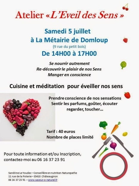 Saveur Ô Naturel: Atelier l'Eveil des Sens | Alimentation Ressourçante | Scoop.it