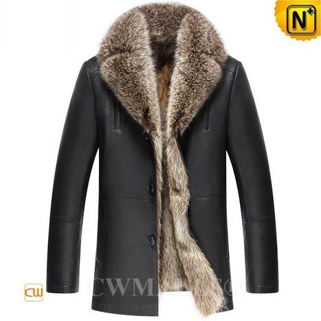 CWMALLS® Mens Raccoon Fur Leather Coats CW836023 | Fur Lined Mens Coat | Scoop.it
