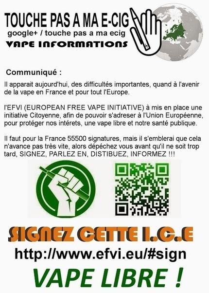 TOUCHE PAS A MA E-CIG – Google+ - Communiqué : http://www.efvi.eu/#sign | Infos cigarettes éléctroniques | Scoop.it