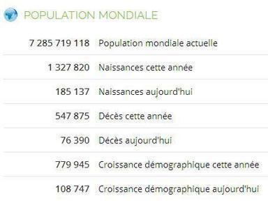 Site du jour (182) : Population (worldmeters) | Au hasard | Scoop.it