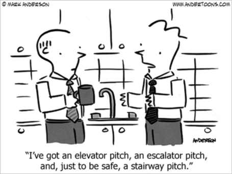 LOL--Elevator Pitch, Escalator and Stairway Pitch Cartoon | Just Story It | Scoop.it