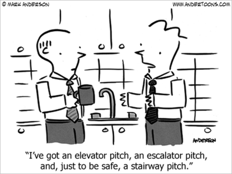 LOL--Elevator Pitch, Escalator and Stairway Pitch Cartoon | Just Story It Biz Storytelling | Scoop.it